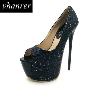 New Women Sequins High Heels Peep Toe Pumps Bling Extreme High Heels Fashion Thin Heels Ladies Wedding Shoes Heeled 16cm Y159