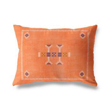 MORROCCAN KILIM ORANGE Indoor|Outdoor Lumbar Pillow By Becky Bailey