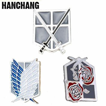 Cool Attack on Titan  Brooch Survey Corps Armband Disposable Military Broches No  Scouting Leigon Badge Brooch AT_90_11