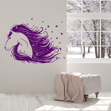 Vinyl Wall Decal Beautiful Horse Head Mane Leaves Animal Stickers Mural Unique Gift (ig4957)