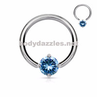 Solitaire CZ Stone Capitve Bead Ring 316L Surgical Steel  14ga Cartilage Hoop