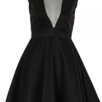 Black Sleeveless Skater Dress with Mesh V Neck