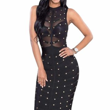 Black Studded Bandage Dress