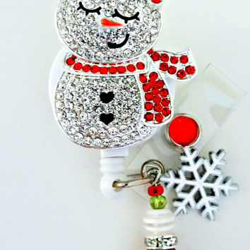 Adorable Snowman ID reel Badge holder~Gorgeous Ultimate Bling Badge~Christmas Badge Reel