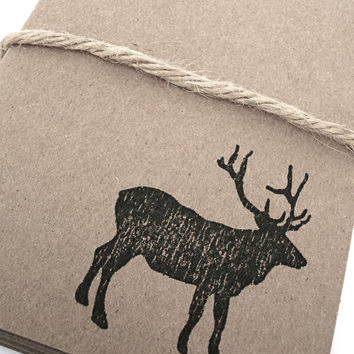 Elk Moose Note Cards - Mountain - Wildlife - Cabin - Gift Cards - Stationary - Brown Kraft Card Stock