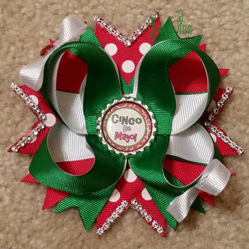 Green, White, Red Cinco De Mayo Boutique Stacked Hair Bow with Polka Dots, Glitter Tulle, Rhinestones, and Bottle Cap