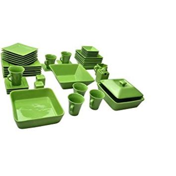 Nova 45 Piece Square Dish Set Green