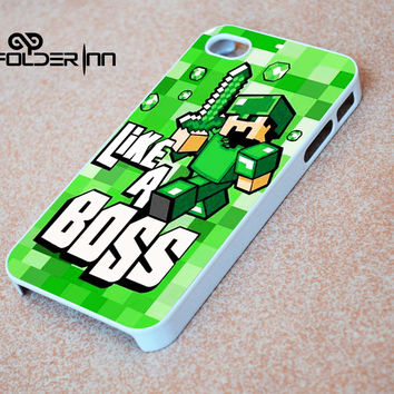 Cute Minecraft like a boss iPhone 4s iphone 5 iphone 5s iphone 6 case, Samsung s3 samsung s4 samsung s5 note 3 note 4 case, iPod 4 5 Case