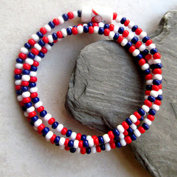 Red White & Blue Seed Bead Combination Bracelet or Necklace - Patriotic Themed Stretch Jewelry - Independence Day Festive Jewelry