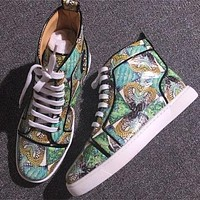 Cl Christian Louboutin Leather Style #2150 Sneakers Fashion Shoes