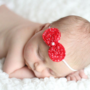 Newborn Headband - Chiffon Bow Headband -Shabby Chic Headband-Baby Girls Headband-Red with White Polka Dot Bow Headband