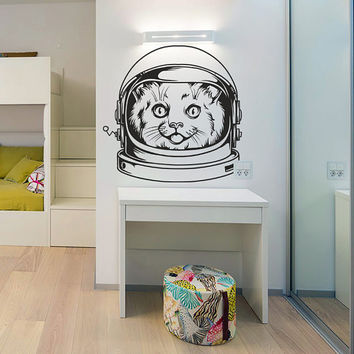 Cat Astronaut Space Wall Decal Vinyl Sticker Art Decor flight planet rocket cartoon kids head helmet star bedroom mural gift (i125)