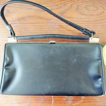 Vintage 1960s Black Honey Bag Purse / 60s HandBag / Honey Bag Purse / Vintage Hand Bag / Black Leather Bag / Vintage Purse