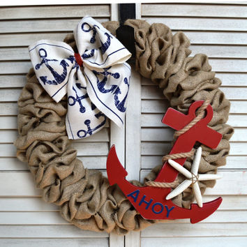 Nautical Burlap Wreath | Nautical Wreath | Anchor Wreath | Starfish Wreath | Ahoy | Nautical Welcome Wreath