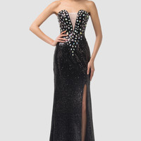 Mesh Deep V-Neck Sequins Beaded Side Slit Evening Dress