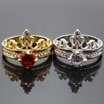Fashion Luxury Gold Color Crystal Cubic Zircon Crown Women Engagement Jewelry Female Wedding Finger Flower Ring