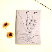 Handmade illustrated Art book journal recycled paper-upside down