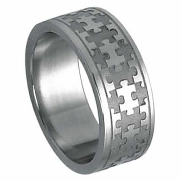Steel Ring For Autism Awareness with Laser Cut Puzzle Piece Design