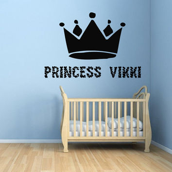 Girl Personalized Name Wall Decals Princess Wall Words Princess Crown Vinyl Sticker Girl Room Decor Vinyl Art Kids Nursery Room Decor KG449