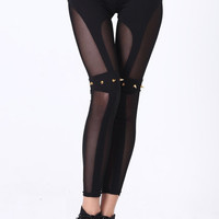 ROMWE | Sheer Mesh Riveted Leggings, The Latest Street Fashion