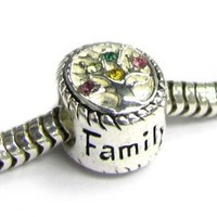 Sterling Silver Family Tree Of Life Love Bead For European Charm Bracelets