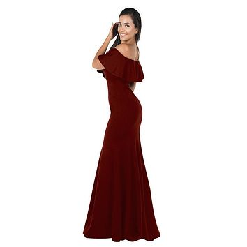 Burgundy Off-the-Shoulder Mermaid Long Formal Dress