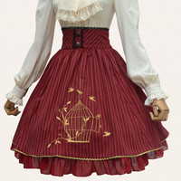 Womens Lolita Style Skirt in Blue or Red ft. Gold Bird Cage Embroidery Size S or L