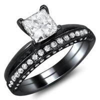 1.52ct Princess Cut Diamond Pave Engagement Ring Bridal Set 18k Black Gold Rhodium Plating Over White Gold With A 0.72ct Center White Diamond And 0.80ct of Surrounding Diamonds