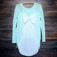 snowed in sheer bow back sweater tunic , mint