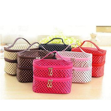 VONESC6 Women Multifunction Double desk Polka Dot Cosmetic Bag Makeup Case Pouch Toiletry Zip Organizer Travel