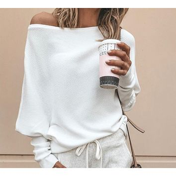 Autumn and winter sexy strapless bat sleeve long sleeve thread t-shirt top White