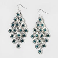 Blue Green Crystal Waterfall Drop Earrings | Claire's