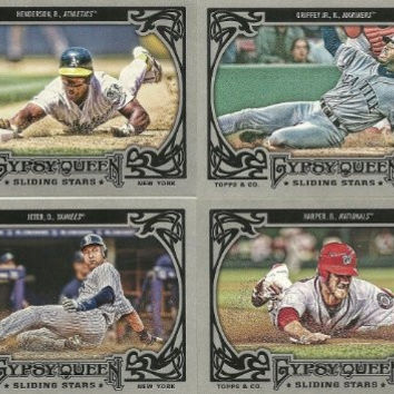 2013 Topps Gypsy Queen Baseball Sliding Stars Series Complete Mint Hand Collated 15 Card Insert Set Including Bryce Harper, Mike Trout, Derek Jeter, Ken Griffey Jr., Ozzie Smith, Rickey Henderson. And Otherrs.
