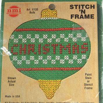Free US Shipping, NMI Needlemagic Stitch 'N Frame Christmas Bulb Counted Cross Stitch Ornament Kit, Sealed Stitch Kit, Unopened Kit Gift