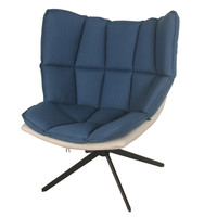 Dillon Fabric Swivel Chair Black Base, Naval/Sandbar