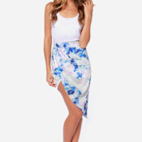 Totally Dreamy Asymmetrical Blue Floral Print Skirt