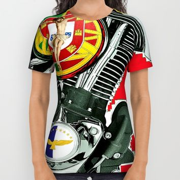 Portuguese Christian Motorcyclist. All Over Print Shirt by Tony Silveira