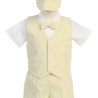 Light Yellow Striped 100% Cotton Seersucker Vest & Shorts 5 Pc Outfit (Baby or Toddler Boys)