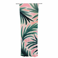 "Crystal Walen ""Lush Palm Leaves "" Green Pink Decorative Sheer Curtain"