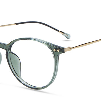 Unisex full frame mixed material eyeglasses