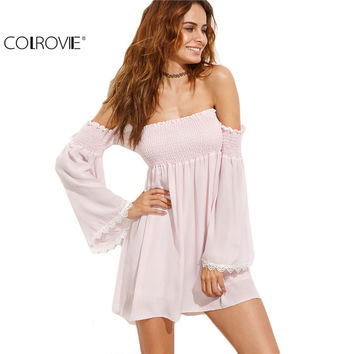 COLROVIE Female Off the Shoulder Lace Contrast Bell Sleeve Shirred Dress Beach Wear Chiffon Shift Mini Dress