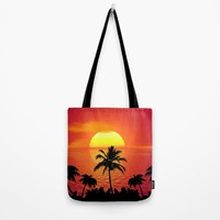 Tropical Sunset Holiday Tote Bag by WonderfulDreamPicture