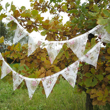 Wedding or Party Bunting, Lace Banner, Pennant, Netting Flags, Rustic or Vintage Wedding Decor, Photo Prop, Vintage Upcycled Fabric