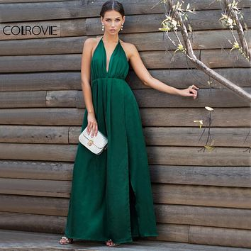 COLROVIE Sexy High Slit Satin Maxi Party Dress 2018 Women Plunge Neck Cross Back Summer Dresses Green Sleeveless Wrap Cami Dress