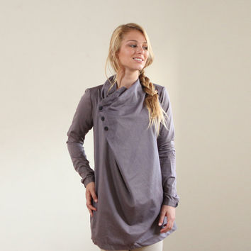 Sale 25 off Gray Tunic Women Blouse Long Sleeves by ASSAFPELLEG