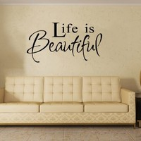 Wall Decal Vinyl Sticker Art Decor Life Beautiful Lettering Quote Living Room V147