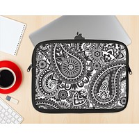 The Black and White Paisley Pattern V6 Ink-Fuzed NeoPrene MacBook Laptop Sleeve