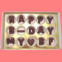 Happy B-Day My BF Large Milk Chocolate Letters-Birthday Gift for Boyfriend-Made to Order
