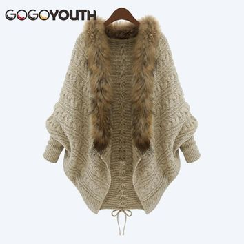 Gogoyouth Fur Collar Cardigan Female 2018 Plus Size Knitted Autumn Winter Sweater For Women Long Sleeve Tricot Coat Jacket Femme