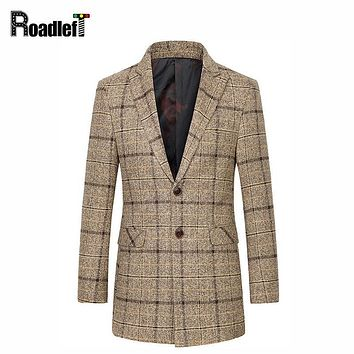 Winter Fashion Mens Wool Blends Cashmere Coat Windbreaker Long Trench Coat Men Woolen Parka Duffle Overcoats Mandarin Jackets